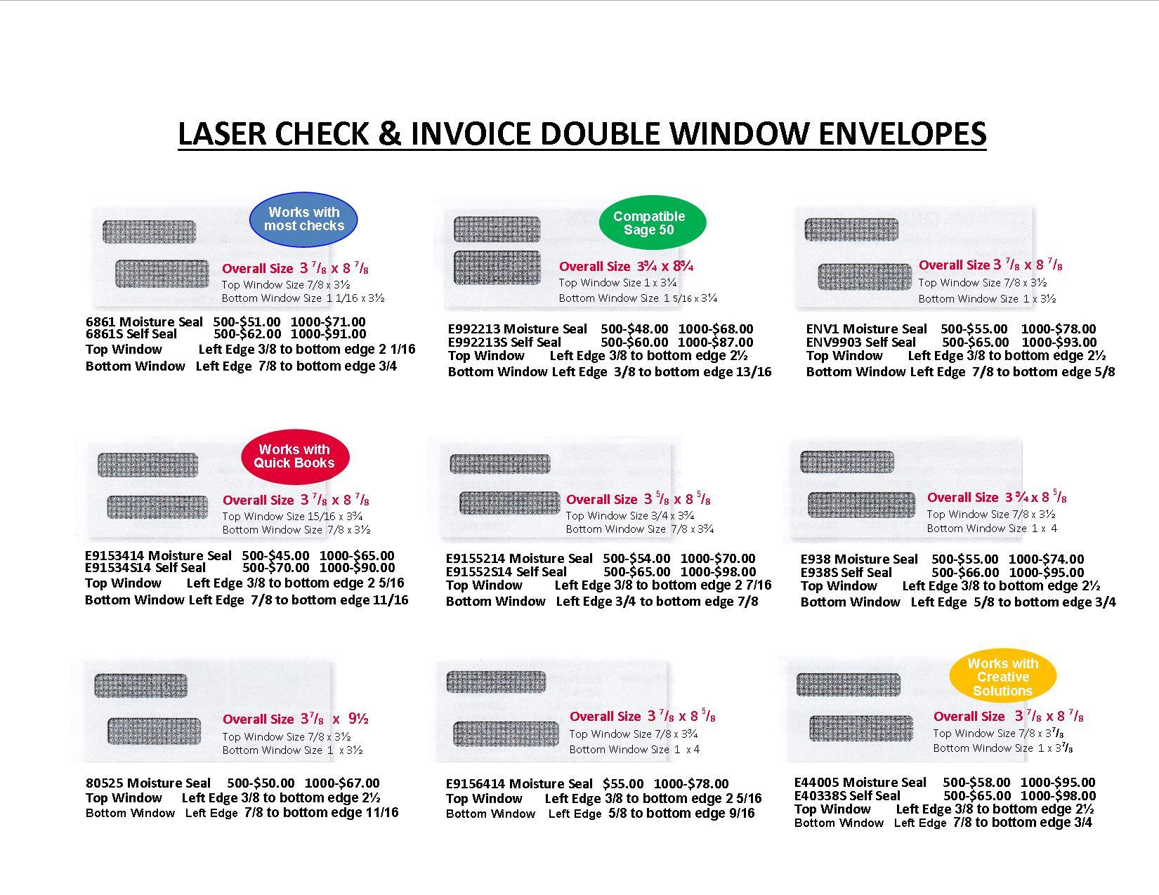 Double Window Envelopes Feld Printing Co - 9 invoice envelopes